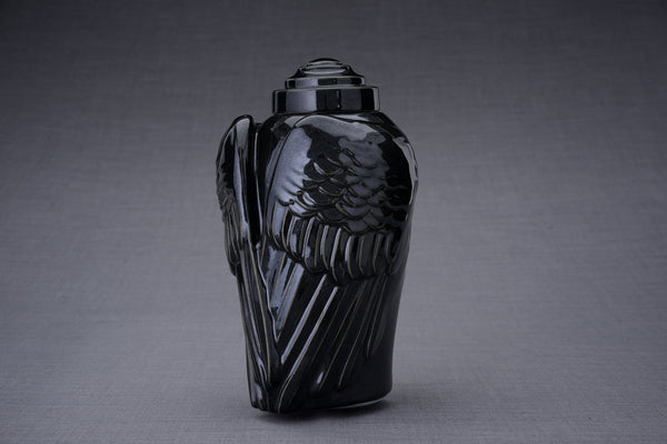 Wings Handmade Cremation Urn for Ashes, size Large/Adult, color Black Gloss-Pulvis Art Urns