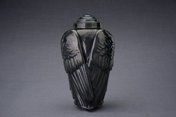 Wings Handmade Cremation Urn for Ashes, size Large/Adult, color Black Melange