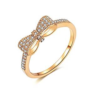 Fashion Cute Bow Knot  Eternity Band Engagement Promise Rings for Girls Women