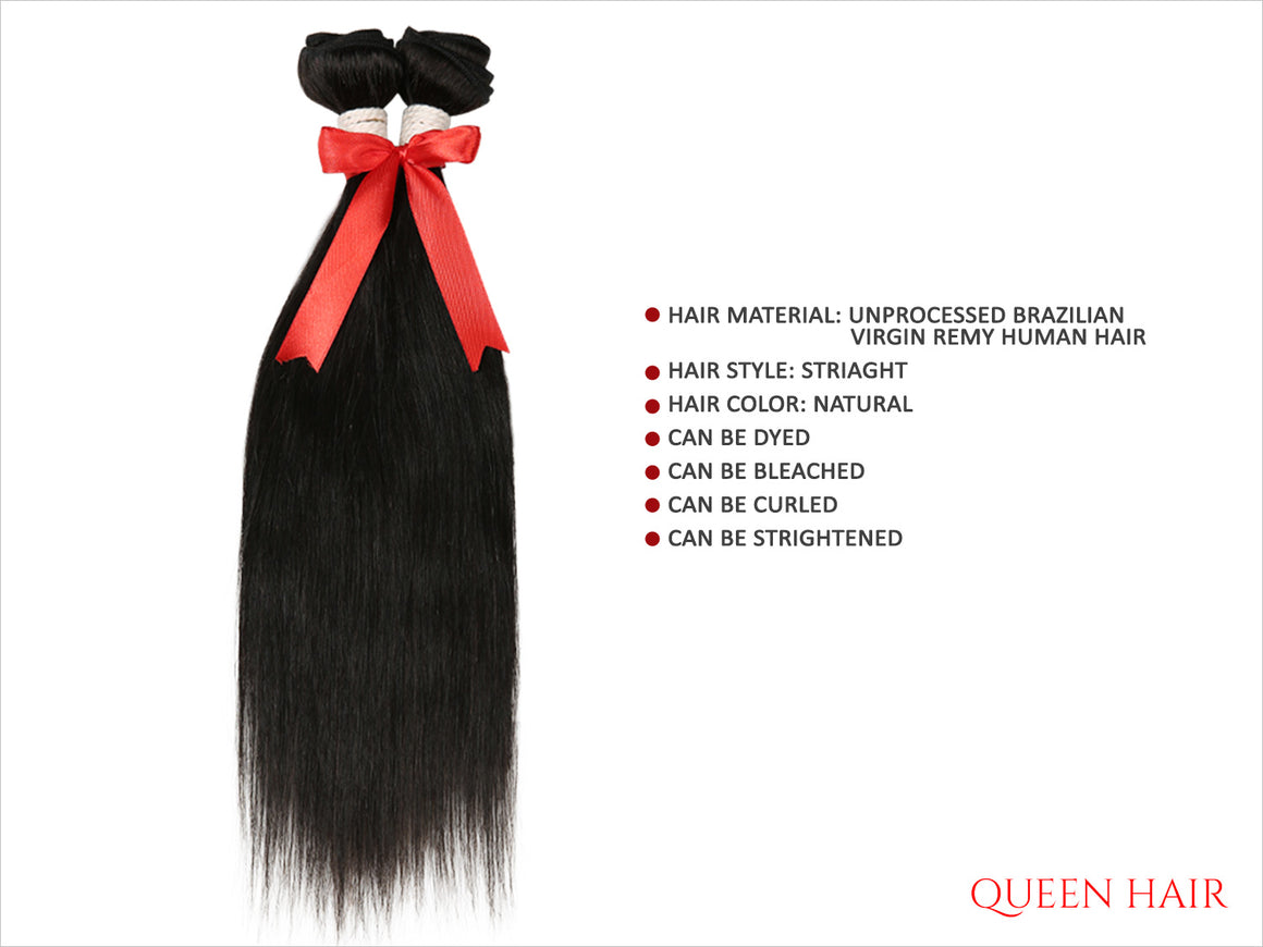 QUEEN HAIR UNPROCESSED BRAZILIAN VIRGIN REMY HUMAN HAIR WEAVE STRAIGHT 20""
