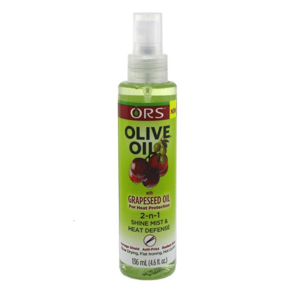 ORS Olive Oil With Grapeseed Oil 2-N-1 Shine Mist & Heat Defense 4.6 oz (1 Pack)