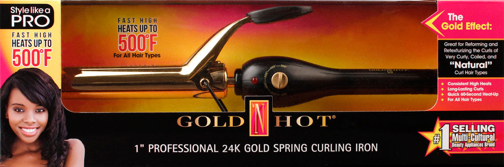"Gold 'N Hot 1"" Professional 24K Gold Spring Curling Iron"