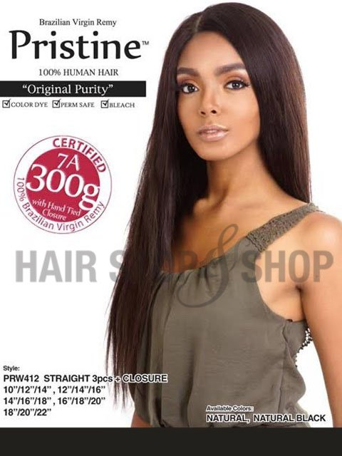 Mane Concept Brazilian Human Hair Pristine STRAIGHT Weave 3pc  18,20,22 INCHES
