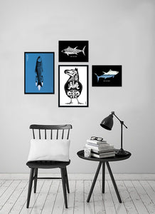 Grafische zwart wit print - Fish and Chip