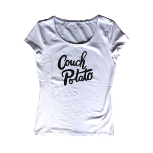 Couch Potato T-shirt, aardappel-wit