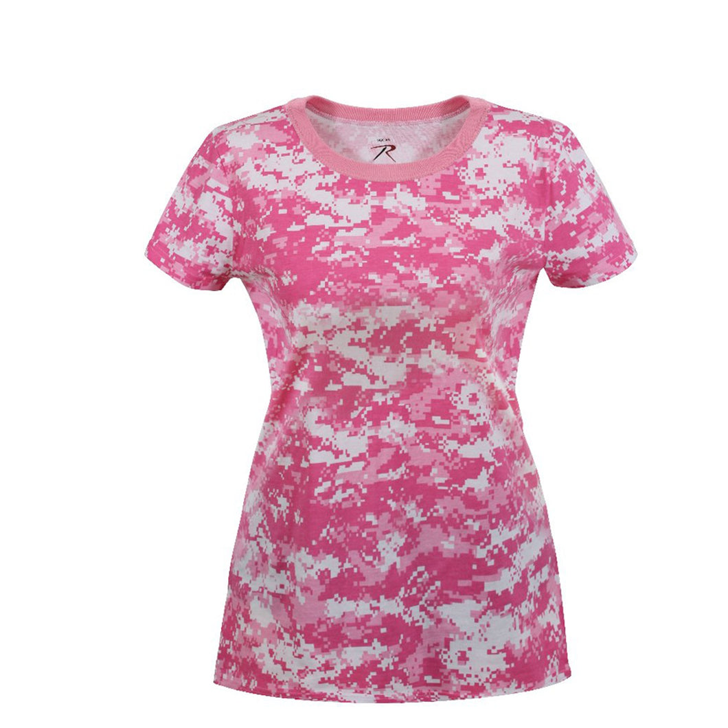 Rothco - Womens Long Length Camo T-Shirt - Pink Digital Camo - 5683