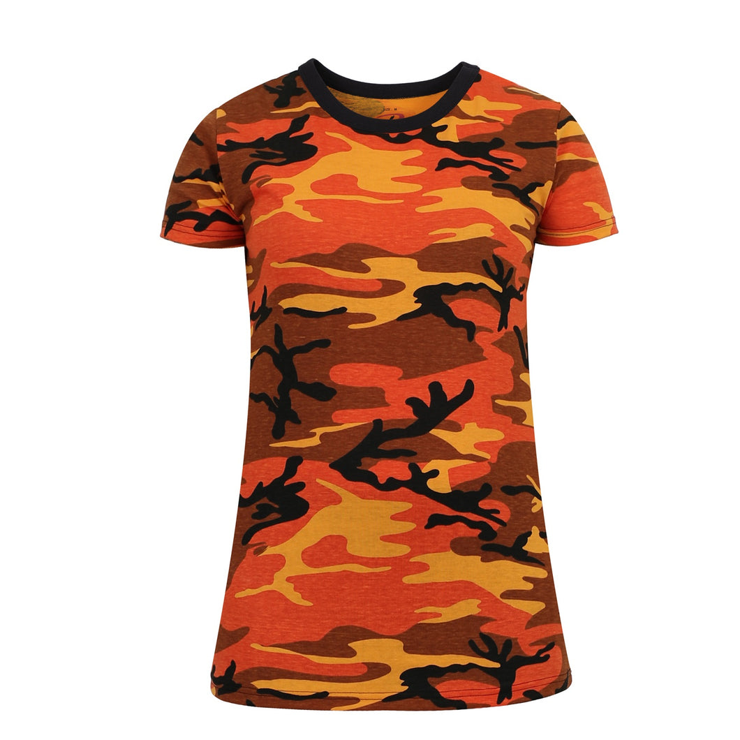 Rothco - Womens Long Length Camo T-Shirt - Savage Orange Camo - 5738