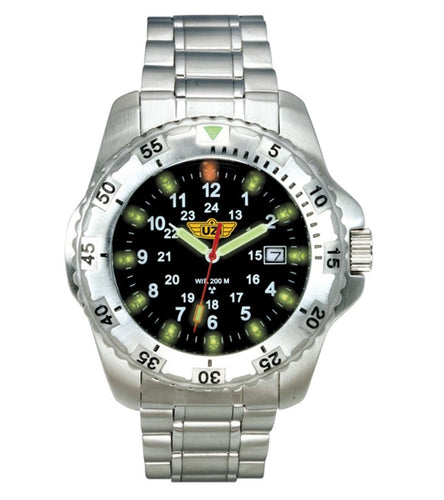 UZI - The Defender Tritium H3 Silver Stainless Steel Strap Watch Silver - UZI-032-SS