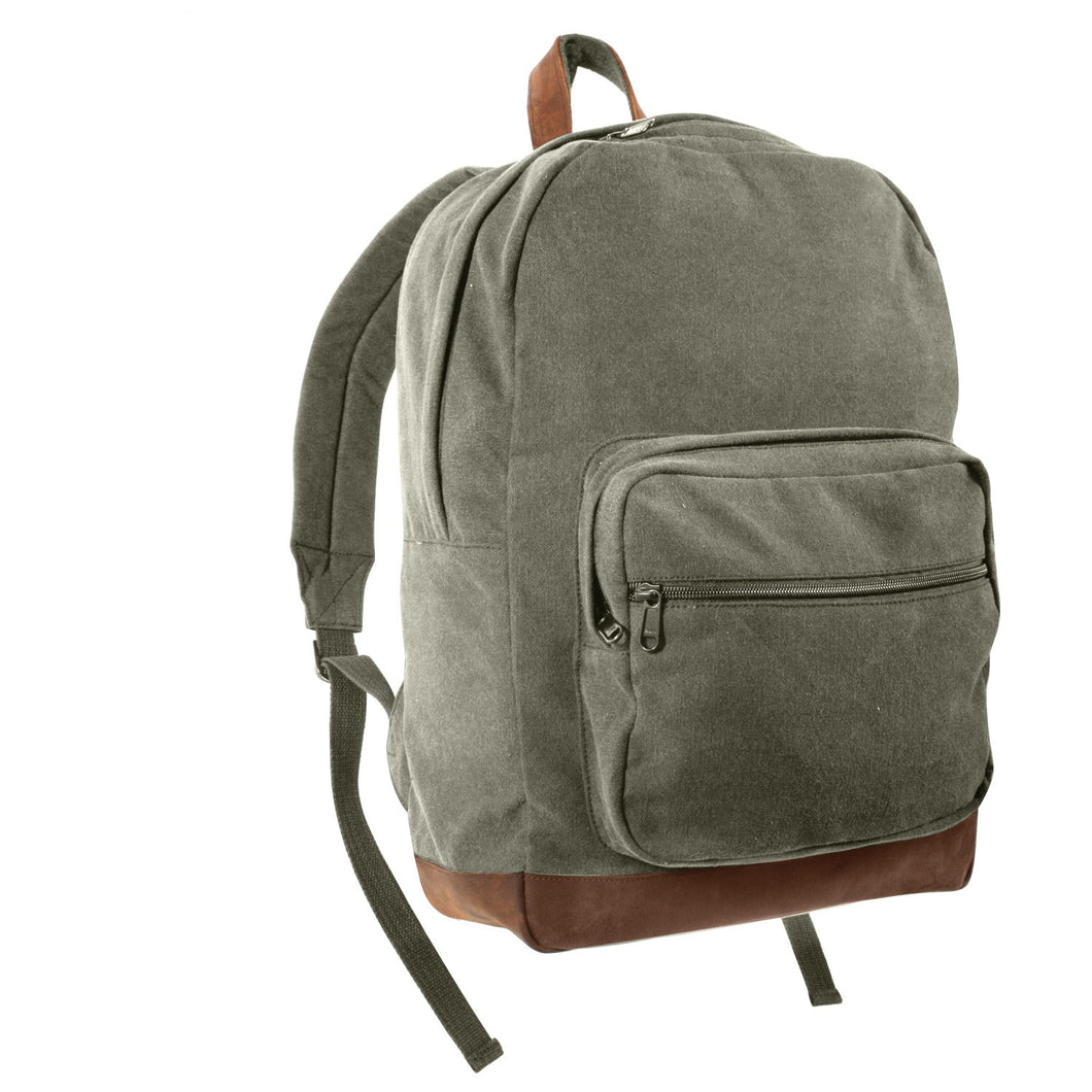 Rothco - Vintage Canvas Teardrop Backpack With Leather Accents - Olive Drab - 9666