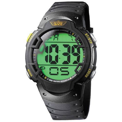 UZI - Guardian Watch with Rubber Strap Black - R-89-RS