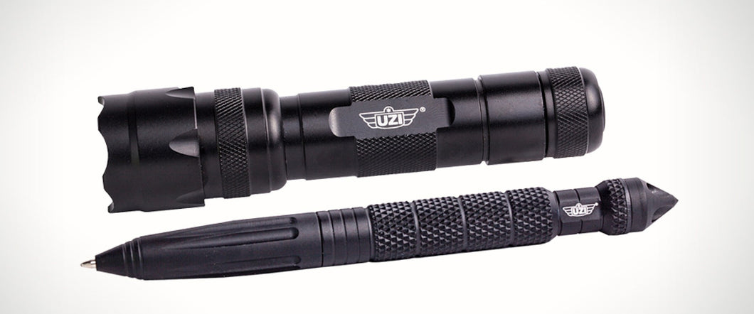 UZI - Tactical Pen & Flashlight Set - Black
