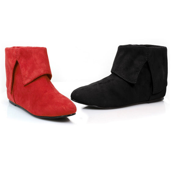 015-QUINN, Flat Red and Black Costume Booties in Black/Red