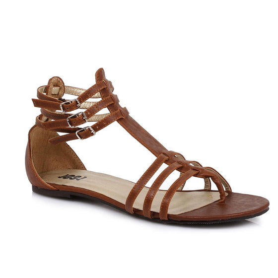 015-Rome, Women's Gladiator Flat Costume Sandal in Brown