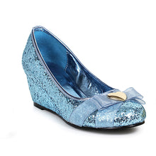 018-PRINCESS, Women's Princess Costume Glitter Shoe in Blue