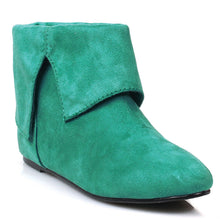 031-PAN, Men's Flat Foldeover Costume Boot in Green