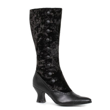 253-GAIL, Women's Retro Costume Boot with Button and Velvet in Black Velvet