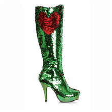 "421-GILLIAN, 4"" Mermaid Flip Sequins Knee-High Boot in Green Sequins"