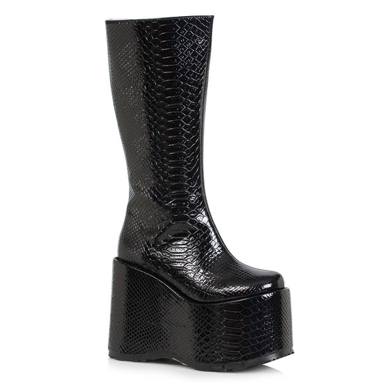 "500-AMARA, 5"" Chunky Wedge Heel Platform Boot in Black Faux Snake Print"