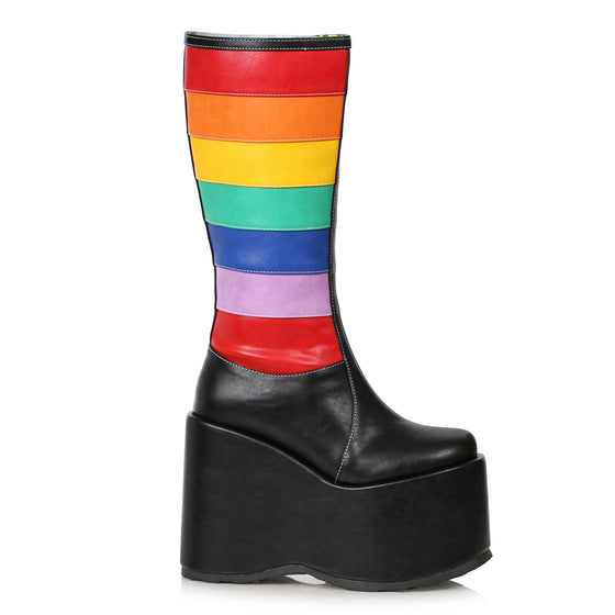 "500-JADA, 5"" Chunky Wedge Heel Platform Boot in Black and Rainbow Stripes"