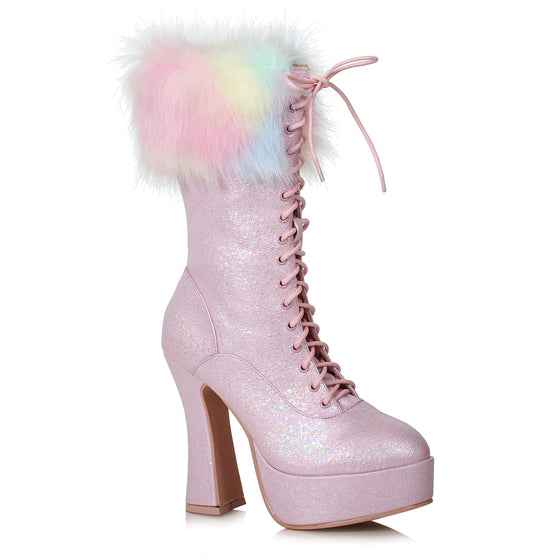 "557-NORA, 5"" Chunky Heel Unicorn Boot With Faux Fur in Pink"