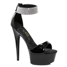 "609-HAVEN, 6"" Platform Heel Rhinestone Ankle Cuff Sandal in Black"