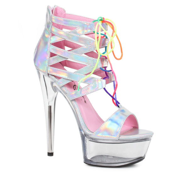 "609-CAPRICE, 6"" Hologram Sandal With Rainbow Laces in Silver"