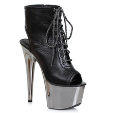 "709-CLARA, 7"" Heel Platform Lace-up Peep-Toe Ankle Boots in Black/Chrome"