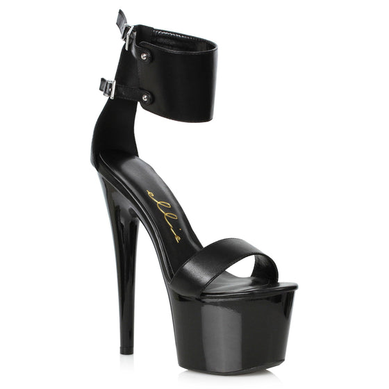 "709-MERCY, 7"" Heel Platform Double Buckle Ankle Cuff Sandal in Black Matte"