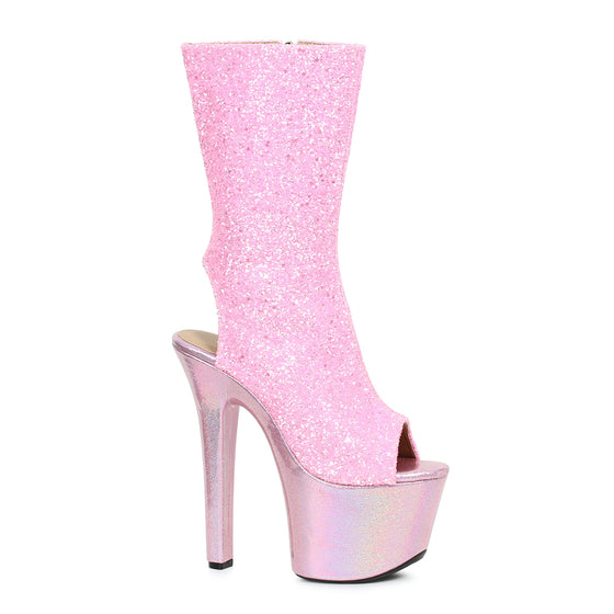 "711-BUTTERCUP, 7"" Inch Glitter Peep-Toe Ankle Boot in Pink"