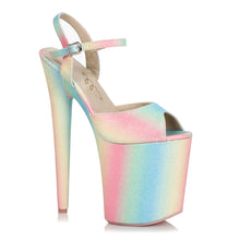 "850-BUBBLE, 8"" Heel Platform Sandal in Pastel Multi-Color"