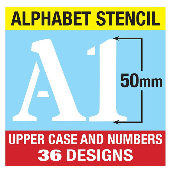 Plastic Sign Writing Stencil Kit Letters /& Numbers Alphabet Upper Case 50mm