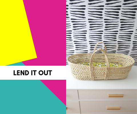 text: lend it out. Image: moses basket with milimili bassinet sheet, against colorful background.