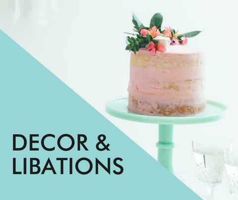 virtual party planning: decor and libations (image of fancy tropical cake)