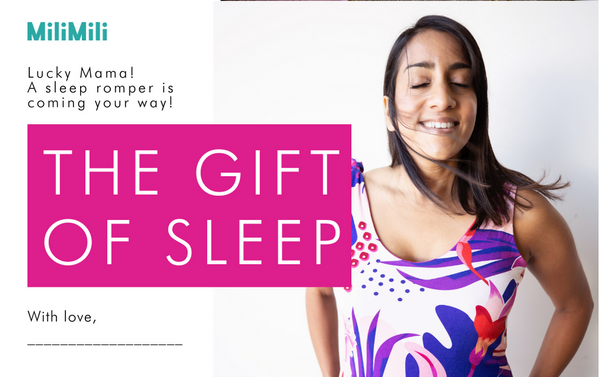 milimili - the gift of sleep - gift notification card for sleep romper purchase
