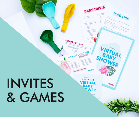 virtual baby shower invitations and games in tropical print