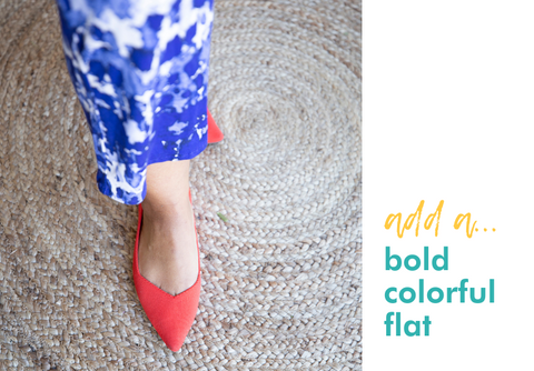add a: bold colorful flat (image of playa blue sleep romper paired with red rothy's flats)