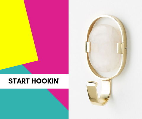 text: start hookin; image: opalescent wall hook