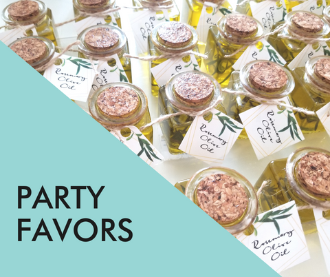 virtual baby shower party favors (featuring image of small bottles of rosemary olive oil)