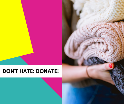 text: dont hate, donate; image: woman holding pile of blankets