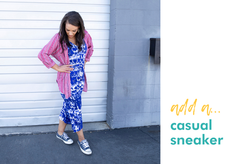 add a: casual sneaker (milimili playa blue sleep romper paired with pink button up and blue chuck taylor sneakers)