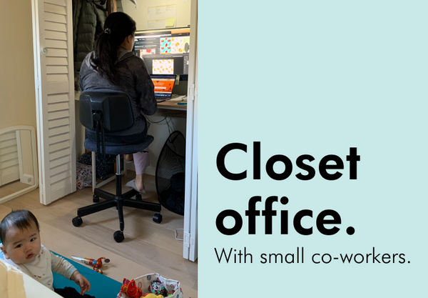 janice wong's closet office - with small baby coworker