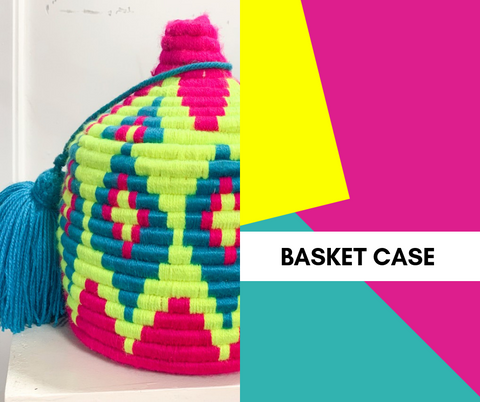 text: basket case; image: colorful moroccan basket