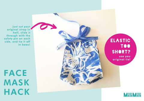 face mask hack: elastic too short? you can repurpose your original strap by just cutting it into two pieces, following the previous instructions, and tying it off in bows.