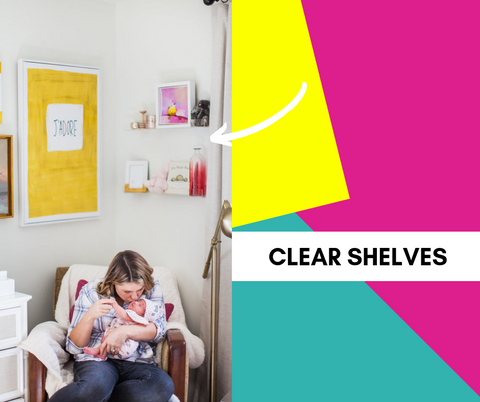 text: clear shelves; image: mom and baby sitting in arm chair with clear shallow shelves above them, holding knick knacks