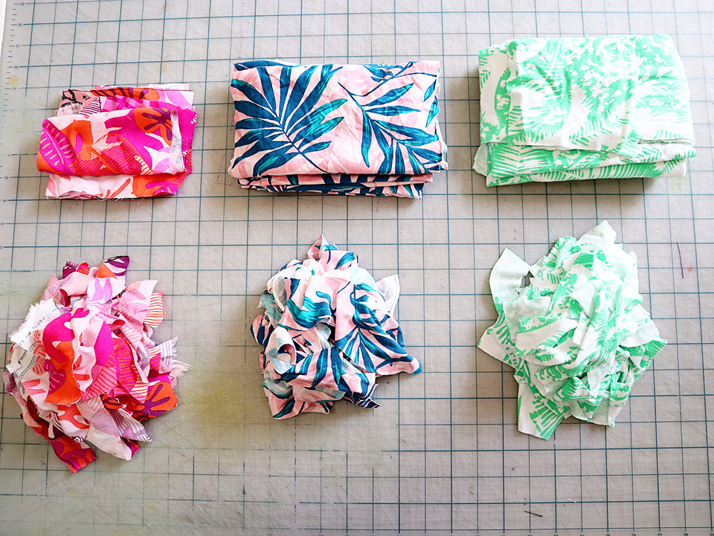 stacks of fabric scraps