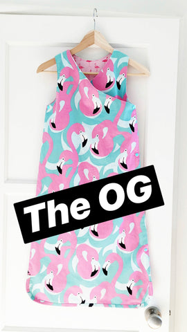 text 'The OG', image: flamingo print sleep sack