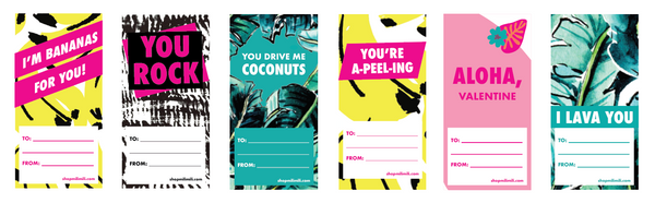 "A selection of six Valentine's Day cards—""I'm Bananas for You!"", ""You Rock"", ""You Drive me Coconuts"", You're A-peel-ing"", ""Aloha, Valentine"", ""I Lava You"""