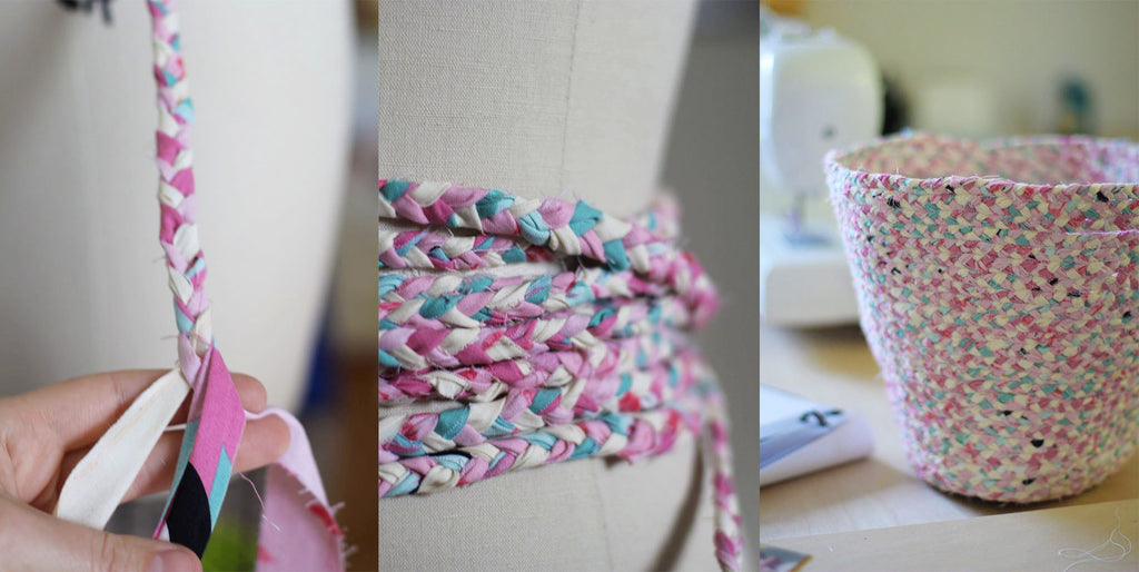 photos of basket making process from fabric scraps