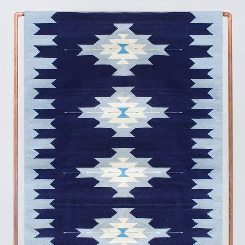 handmade mexican rug in blue aztec pattern
