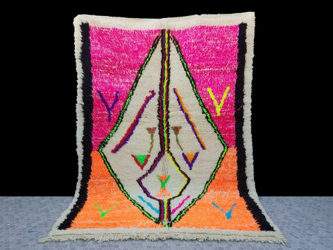 neon orange and pink Morrocan Berber Rug